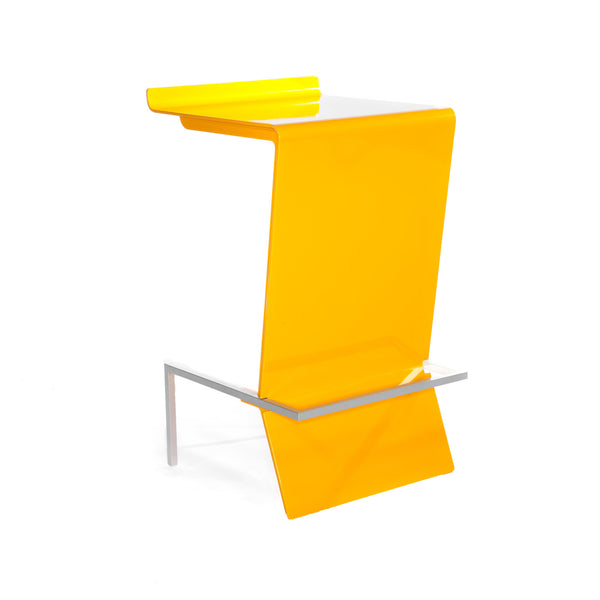 Ultra-modern cantilevered stool. Zag is perfect for reception or make up counter. Unique and colorful way to give sitting with style a whole new meaning. Shown in Lemon.