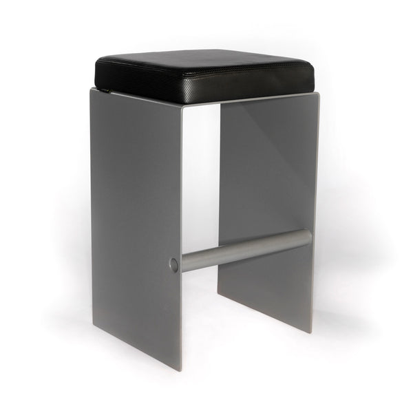 Yoo contemporary stool is great for a reception or make up counter. Yoo combines an aluminum base & footrest in powder coated silver, and upholstered seat cushion in synthetic leather.