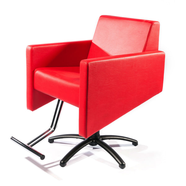 Cutter lipstick red upholstered styling chair shown with a black star pump base.