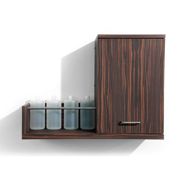 Double your back bar function with Next Door, a product dispense and towel cabinet. Shown in Jurassic Ebony.