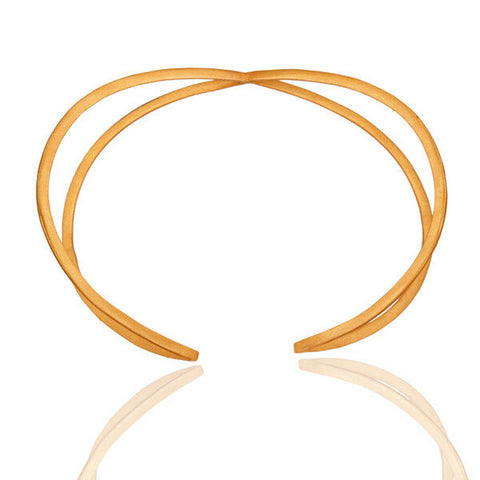 14k Yellow Gold Plated Over Brass Split-Shank Design Cuff Bracelet