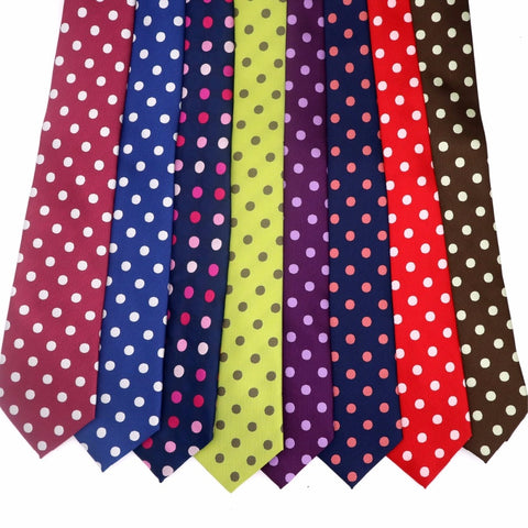 11 Color Luxury Mens Tie 8CM Polka Dot 100% Silk Necktie Jacquard Woven Neck Ties