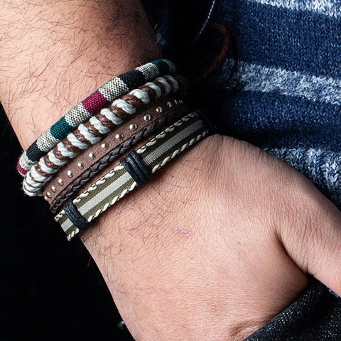 12 Style Metal Leather Bracelets Men Jewelry Vintage Classic Retro Plant Charm