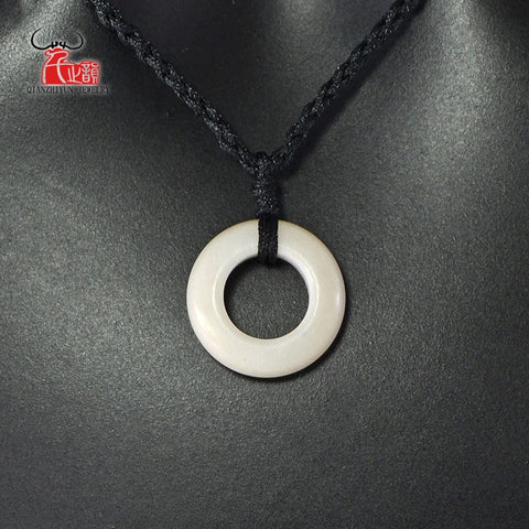Image of 1PC Natural yak bone hand carved Bone Circle necklace