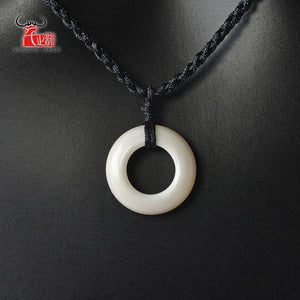 1PC Natural yak bone hand carved Bone Circle necklace