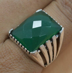 925 Silver Plated Faceted Green Onyx Big Ring Size 7.5