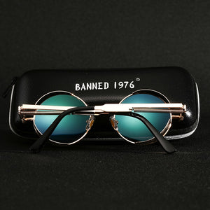 Retro Round Metal HD Polarized Punk Steampunk Sunglasses