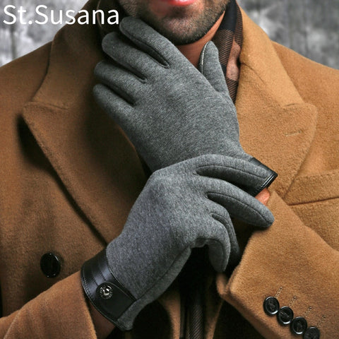 Image of Winter Spring Fashion cloth stretch cotton Men wrist plush comfortable gloves