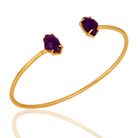 14K Yellow Purple Aventine Gemstone Prong Set Gold Plated Brass Bracelet