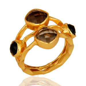 14k Gold Plated Smoky Quartz Womens Fashion Ring Gemstone