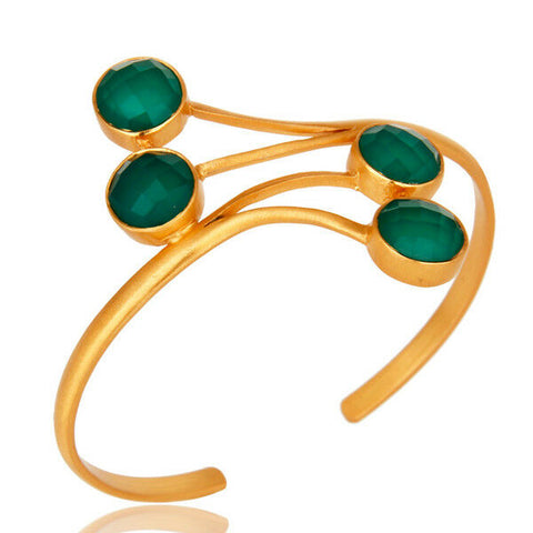 Image of 14K Yellow Gold Plated Green Onyx Gemstone Brass Cuff Bracelet