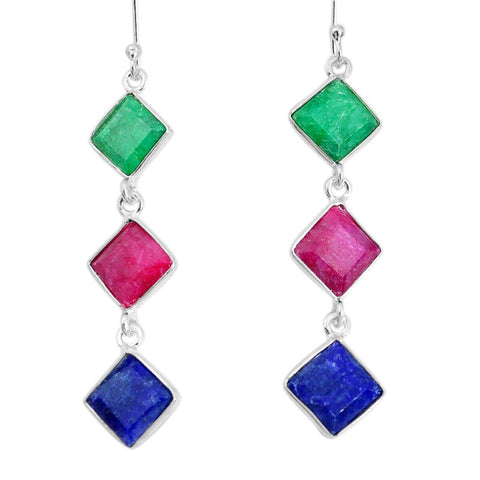 16.10cts Natural Red Ruby Emerald Sapphire 925 Silver Dangle Earrings