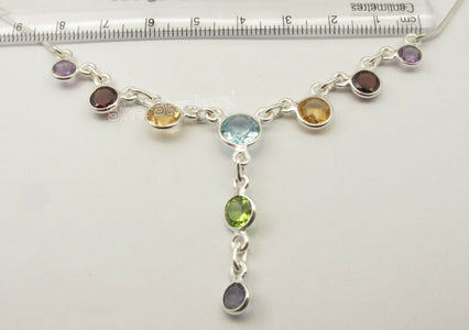 925 Sterling Silver FACETED ROUND MULTISTONES Necklace 17 3/4""