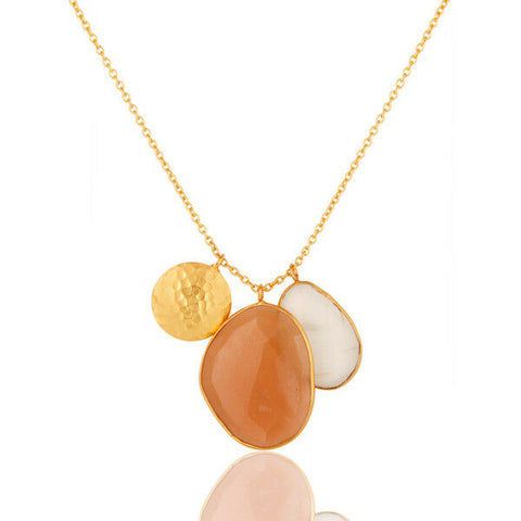 Image of White and Peach Moonstone Gold Plated Designer Brass Necklace With Disc Charm