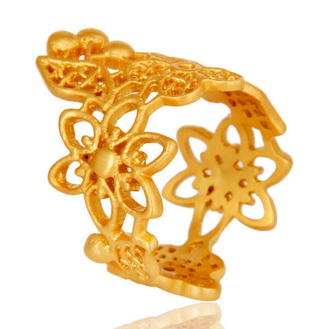 Image of Flower Designer Brass Fashion Ring 18k Gold Plated Handmade Jewelry