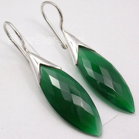 Image of 925 Sterling Silver GREEN ONYX Stunning Dangle Earrings 1.7""