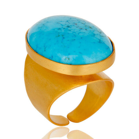 18k Gold Plated Brass Adjustable Turquoise Gemstone Brass Rings