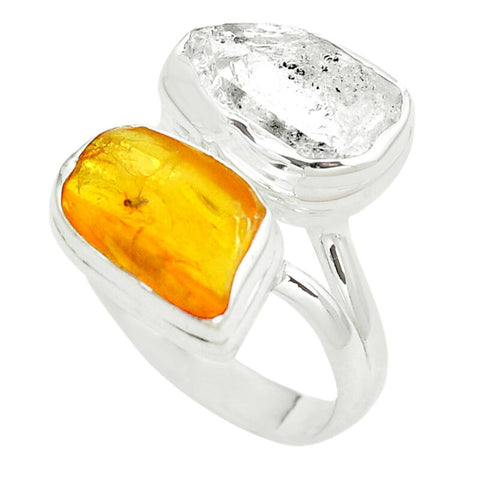 Image of Natural White Herkimer Diamond Amber From Colombia 925 Silver Ring Size 8