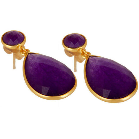 14K Yellow Gold Plated Faceted Purple Aventurine Drops Brass Earrings