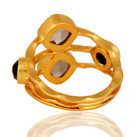 Image of 14k Gold Plated Smoky Quartz Womens Fashion Ring Gemstone