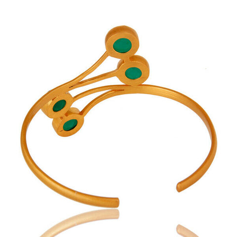 14K Yellow Gold Plated Green Onyx Gemstone Brass Cuff Bracelet