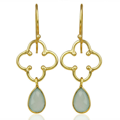 Bezel Set Aqua Chalcedony Fashion Earrings Gold Plated Handmade