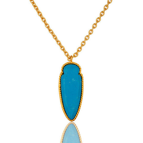 "14K Gold Plated Brass Turquoise Gemstone Fashion 16"" Chain Pendant"