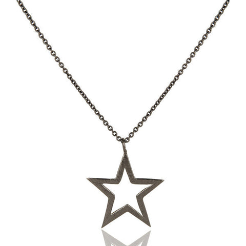 Image of Black Rhodium Plated Star Design Elegance Chain Pendant Necklace