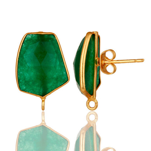 Image of Earrings Gemstone Gold Plated Brass Fashion Jewelry