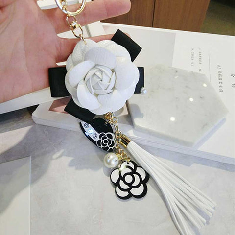 Image of Korean Trendy Leather Bag Camellia Keychain Long Tassel