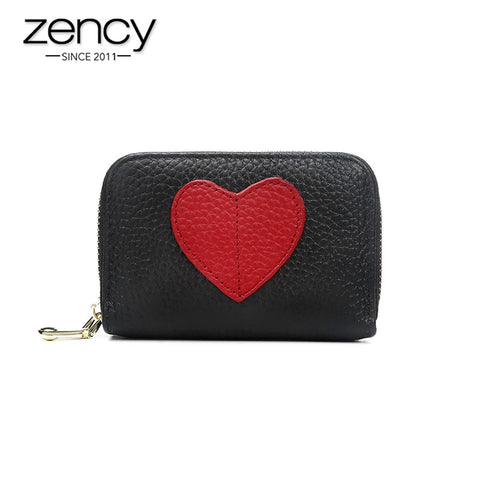 Image of Zency Mini Short Wallet For Women Genuine Leather Heart Shape