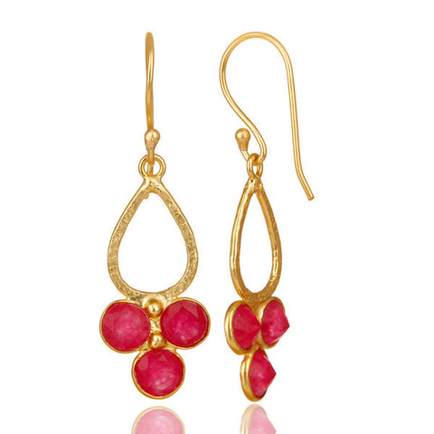 Image of Women's 18K Gold Plated Red Aventurine Drop Earrings