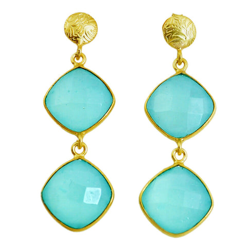 Image of 22.14cts Natural Aqua Chalcedony 925 Silver 14k Gold Dangle Earrings
