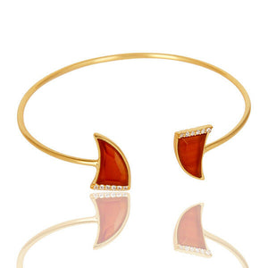 Red Onyx White Zircon Openable Cuff Bracelet 14K Gold Plated