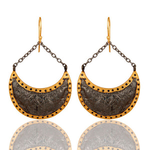 18k Yellow Gold Plated Brass Black CZ Turtle Design Dangle Earrings