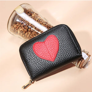 Zency Mini Short Wallet For Women Genuine Leather Heart Shape