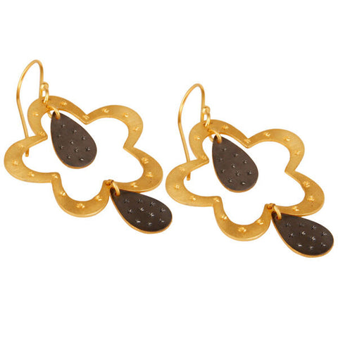 14k Gold Plated Handmade Flower Art Design Dangle Earrings