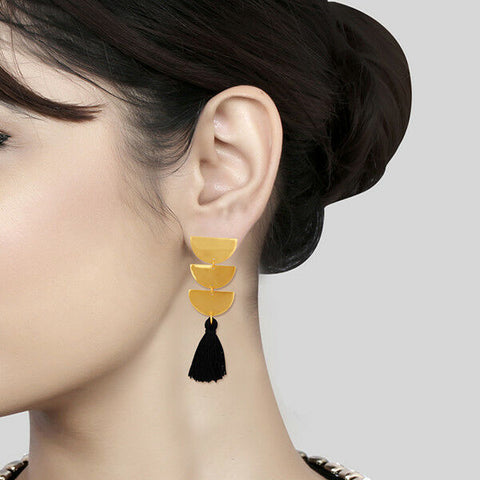 14K Gold Plated Brass Handmade Tassel Black Thread Earrings