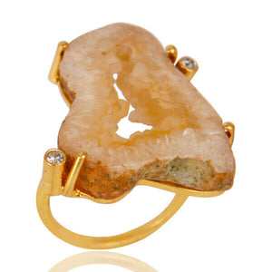 Prong Set Druzy Agate 18k Gold Plated Cocktail Brass Ring