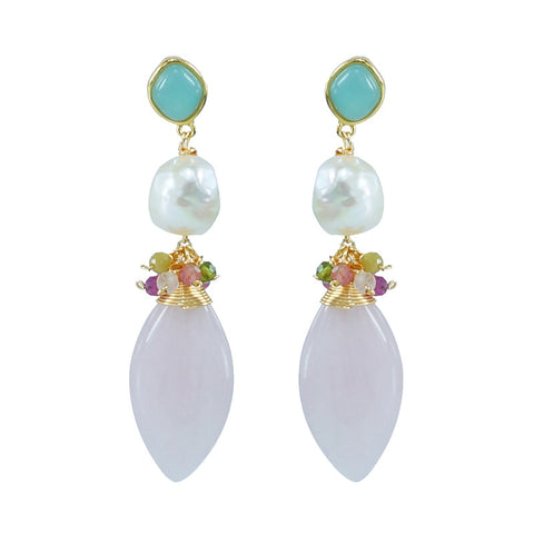 925 sterling silver with Baroque pearl rose Quartz blue Amazonite Amethyst natural