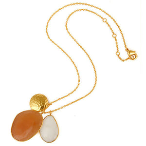 White and Peach Moonstone Gold Plated Designer Brass Necklace With Disc Charm