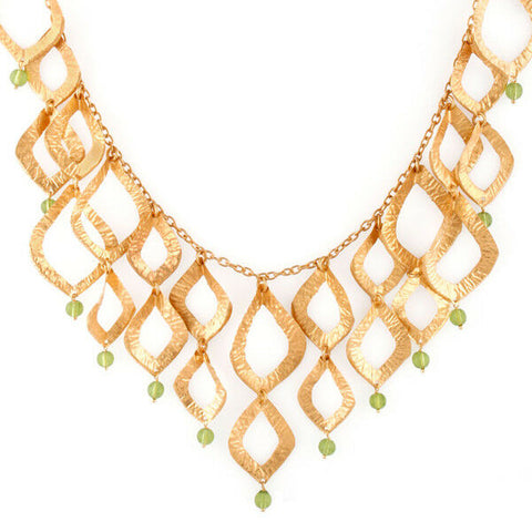 18K Gold Plated Brass Cutout Leaf Design Green Peridot Glass Necklace