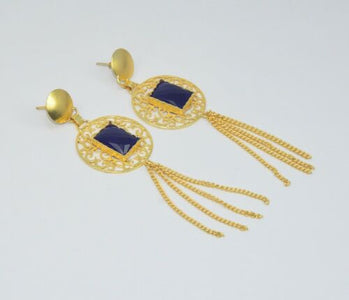 925 Solid Brass Blue Iolite Long  Earring