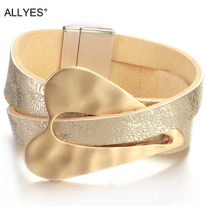 Champagne gold Leather Bracelet for Women Fashion 2020 Magnetic buckle Heart Charm Wide Bracelets Female J