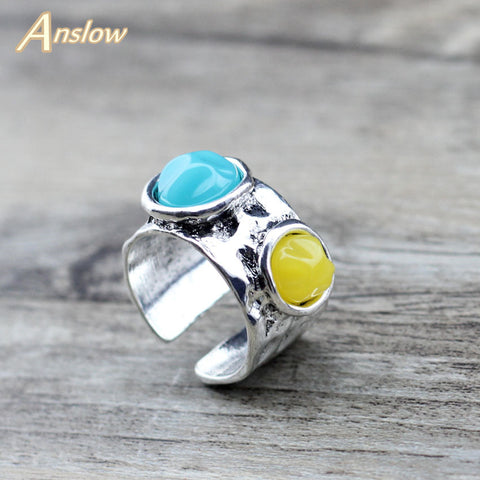 Anslow Two Resin Beads Adjustable Rings For Women