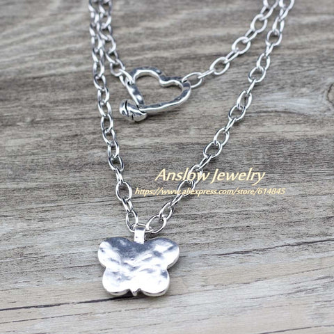 Image of Anslow Fashion Jewelry Silver Plated Chain Butterfly 2 Layers Necklace