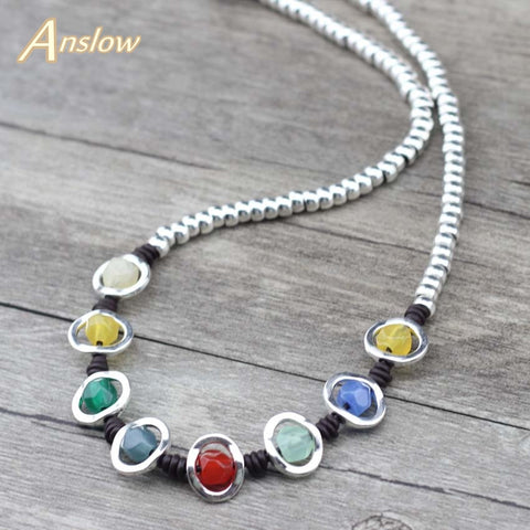 Anslow Rainbow Handmade Beads Choker Necklace