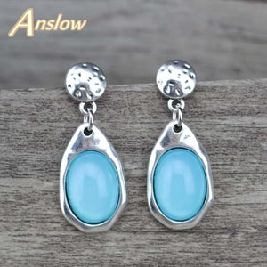 Anslow  Water Drop Antique Silver Plated Earrings