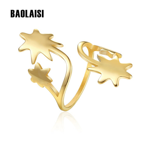 Image of BAOLAISI Four Stars Stainless Steel Ring