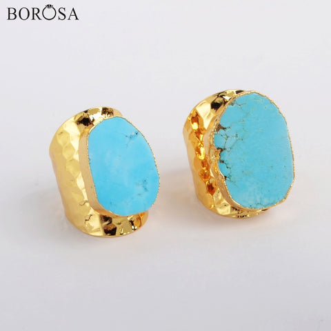 Image of BOROSA Bohemian Blue Howlites Women Rings Gold Plated Turquoises